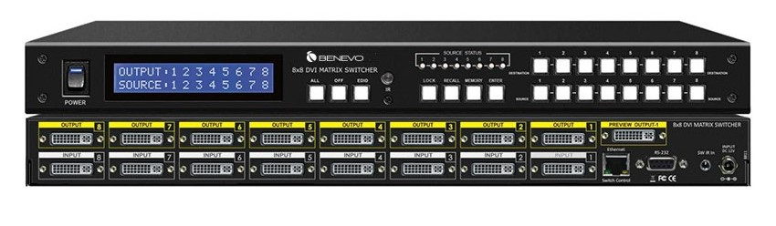 ultravideo专业型8x8 dvi数位矩阵控制器(面板按键/遥控/serial)